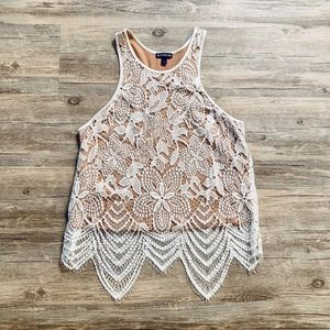 RACER BACK LACE TANK WITH LACE